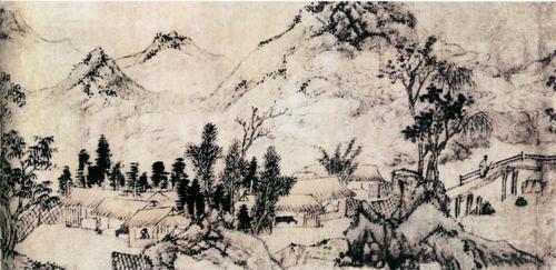 承于国家级手绘大师之笔,于展厅墙面上绘出波澜山水.